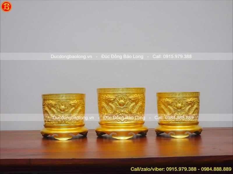 bộ 3 bát hương đúc nổi dát vàng