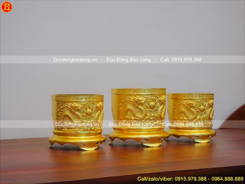 bộ 3 bát hương đúc nổi dát vàng 9999