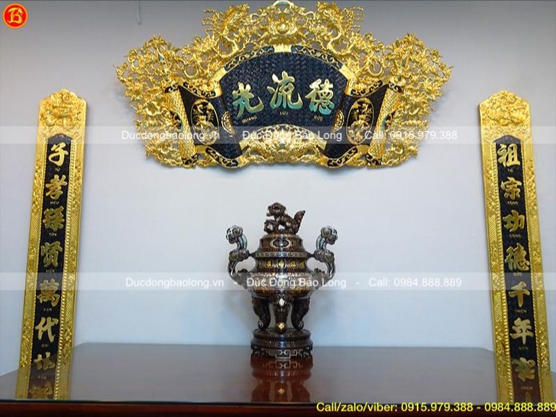 đỉnh đồng khảm ngũ sắc 5 chữ vàng cao 70cm