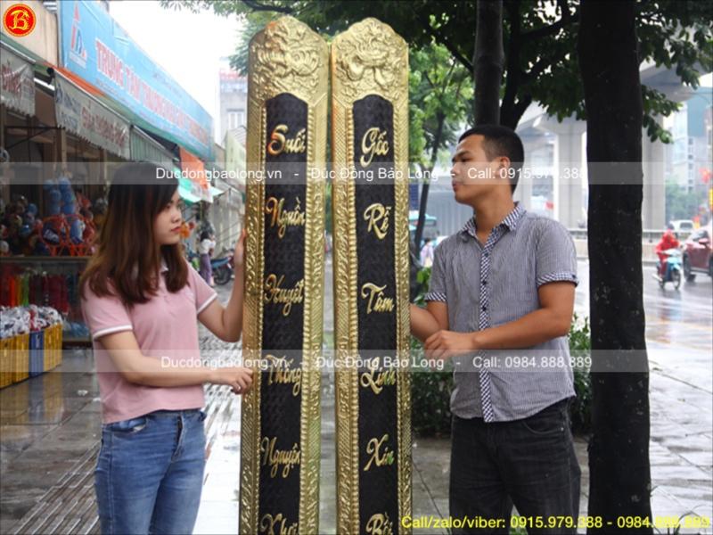 Đôi Câu Đối ốp cột bằng đồng vàng hàng đặt 1m97
