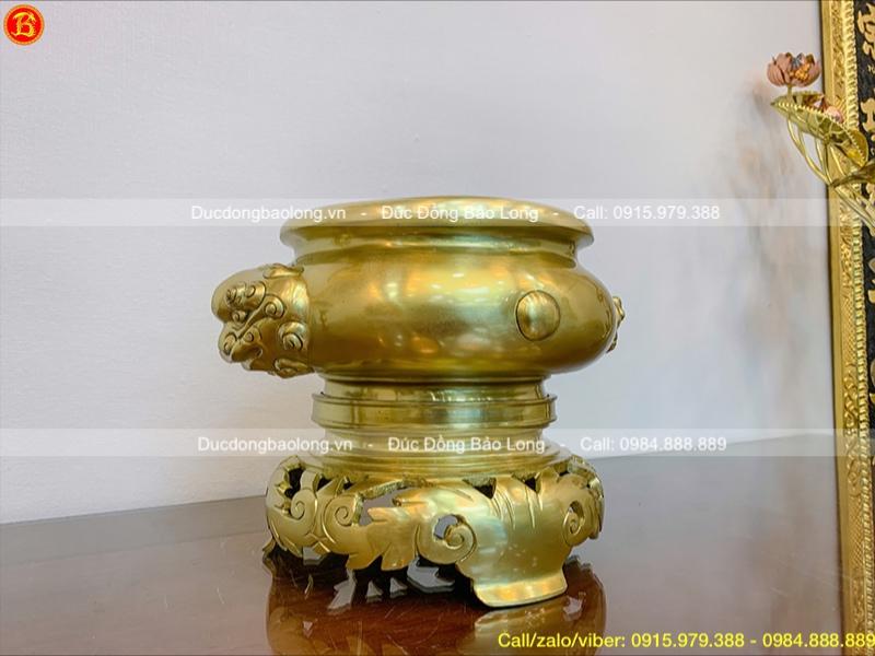 Lư hương thờ bằng đồng Catut cao 28cm