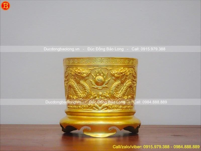 Bộ 3 Bát Hương đúc nổi dát vàng 9999 18 – 20cm