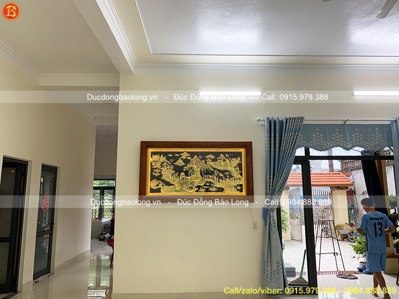 Tranh Vinh Quy Bái Tổ khung gỗ đỏ 1m97 x 1m07 cho khách Kiến Xương