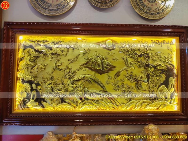 Tranh Tứ Quý Bình An bằng đồng 1m7 x 90cm