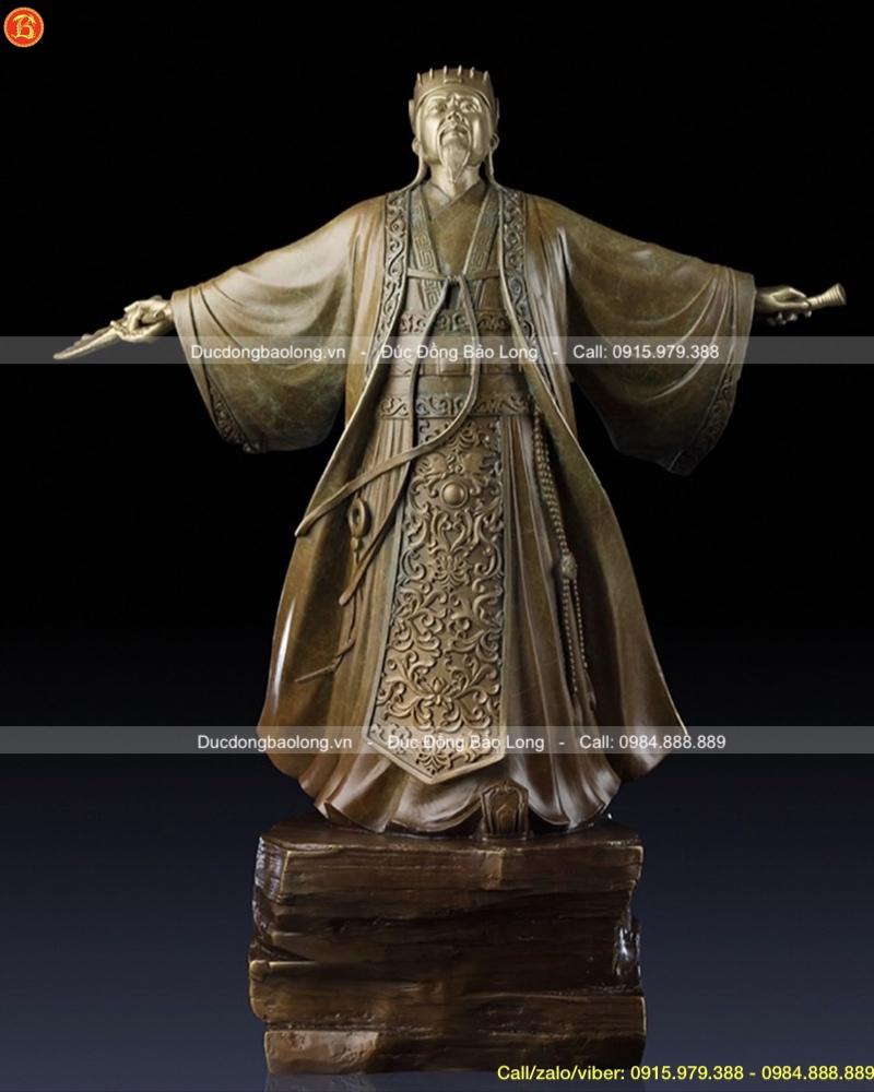tượng khổng minh gia cát lượng bằng đồng cao 50cm