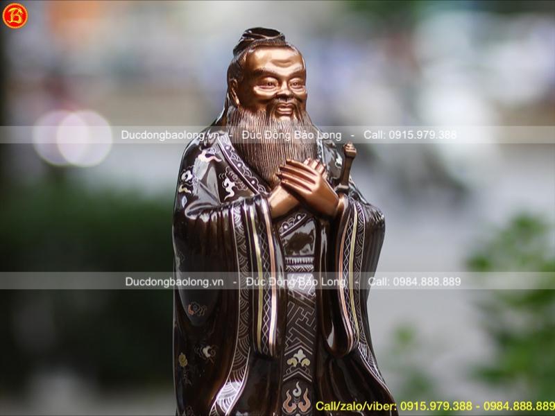 Tượng Khổng Tử để bàn khảm Tam khí cao 42cm