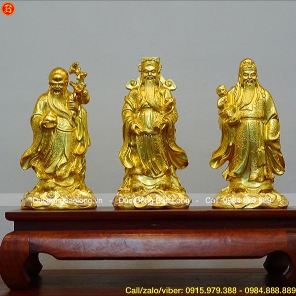 Tượng Tam Đa Phúc – Lộc – Thọ dát vàng 9999 cao 33cm (mẫu mới)
