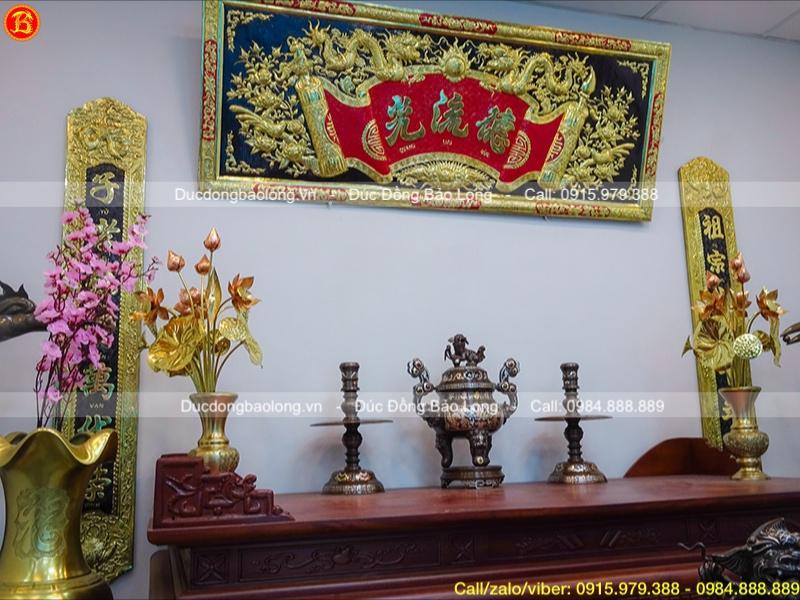 Bộ tam sự thờ cúng khảm tam khí rồng phượng 1 chữ vàng cao 50cm