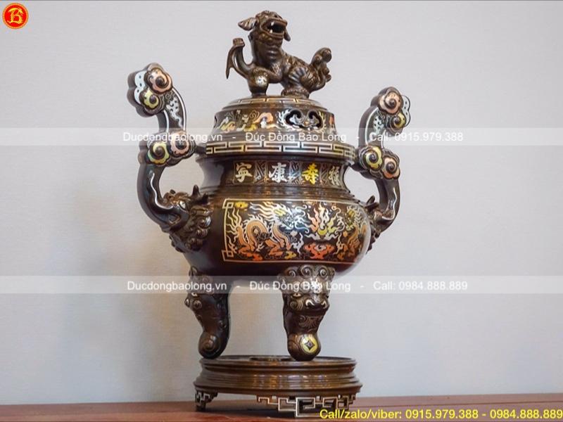 Đỉnh thờ cúng bằng đồng khảm tam khí 1 chữ vàng cao 50cm
