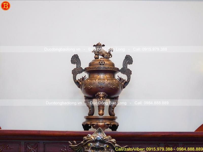 Đỉnh thờ cúng bằng đồng dơi thọ hạ màu thời gian cao 60cm