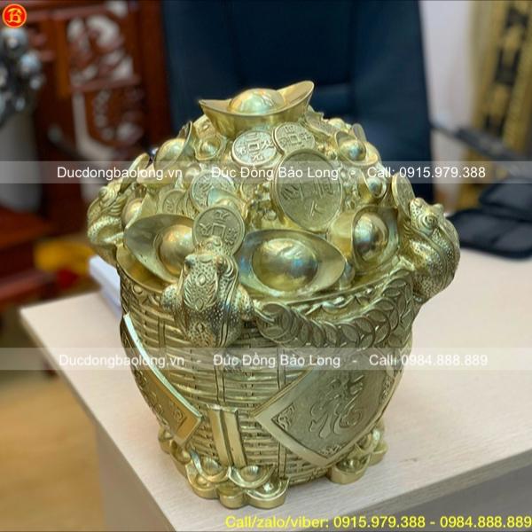 Hũ tiền Tài Lộc bằng đồng Catut cao 31cm