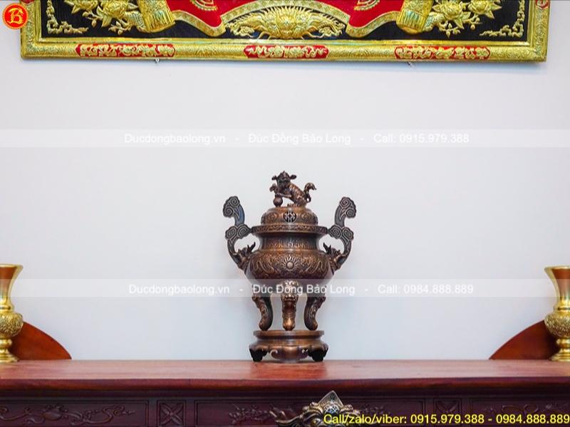 Đỉnh thờ cúng đục long phụng hạ màu thời gian mẫu cổ 60cm