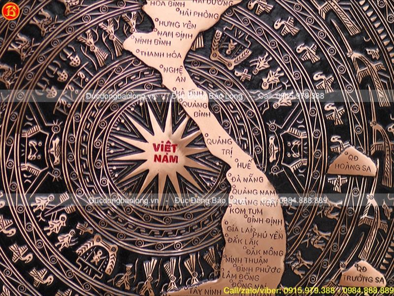 Mặt trống đồng đúc họa tiết bản đồ Việt Nam 60cm