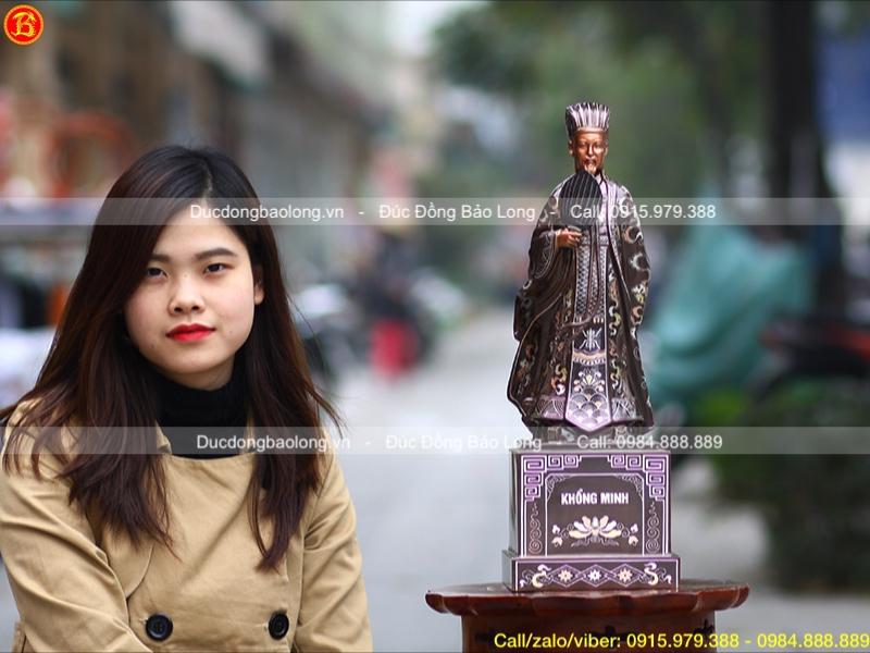 Tượng Khổng Minh khảm tam khí bằng đồng cỡ nhỏ cao 48cm