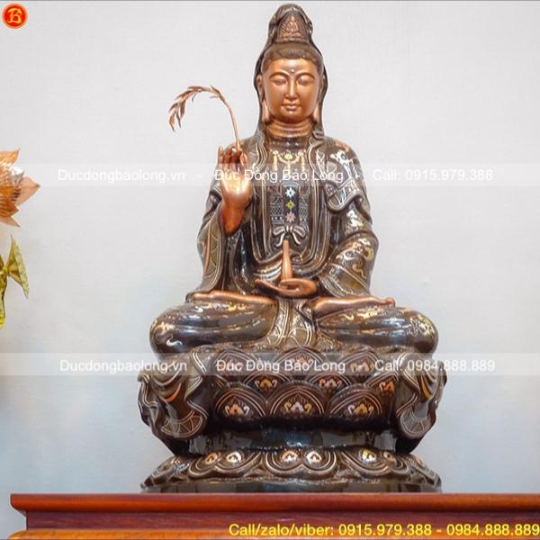 Tượng Phật Bà Quan Âm bằng đồng 61cm cho chùa Vân Phong, Quảng Ninh