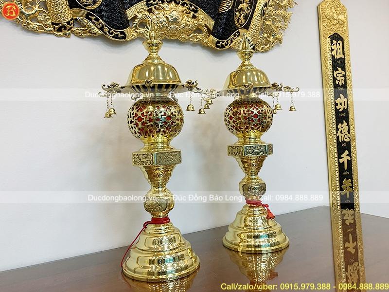 đôi đèn thờ dây chuông bằng đồng