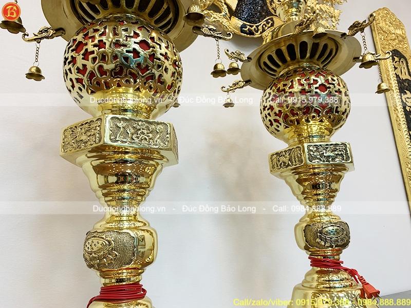 Đôi Đèn Thờ Dây Chuông bằng đồng vàng cao 90cm