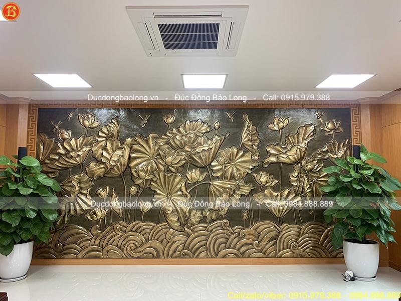 Tranh Phù Điêu Hoa Sen 5m3 x 2m55 treo phòng họp