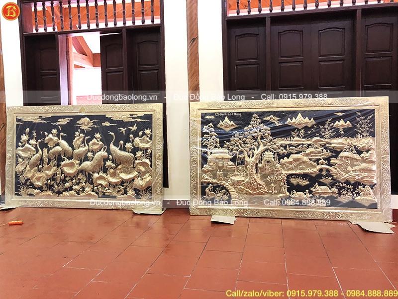 Tranh cội nguồn quê hương 2m6 x 1m6 khung đồng treo ở Phú Thọ