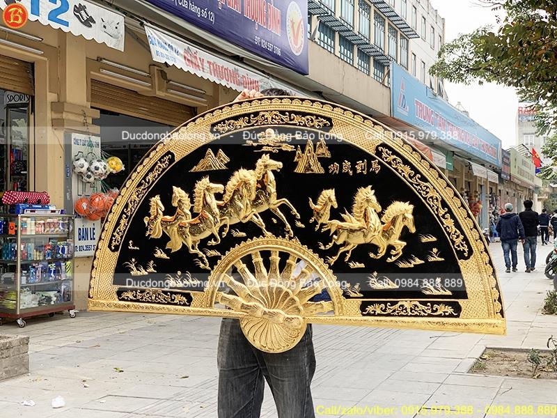 Tranh quạt Bát Mã bằng đồng Mạ vàng 24k 1m55