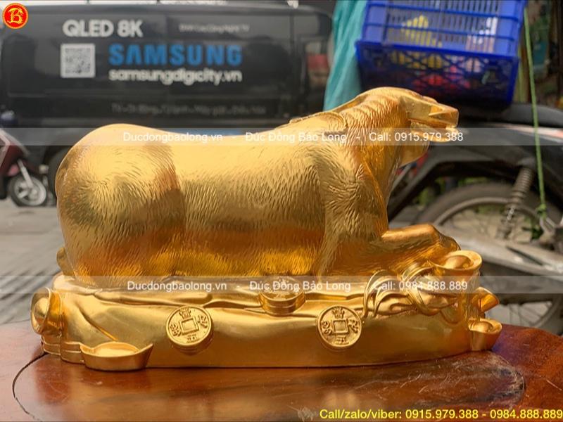 Tượng Con Trâu Phong Thủy dát vàng 9999