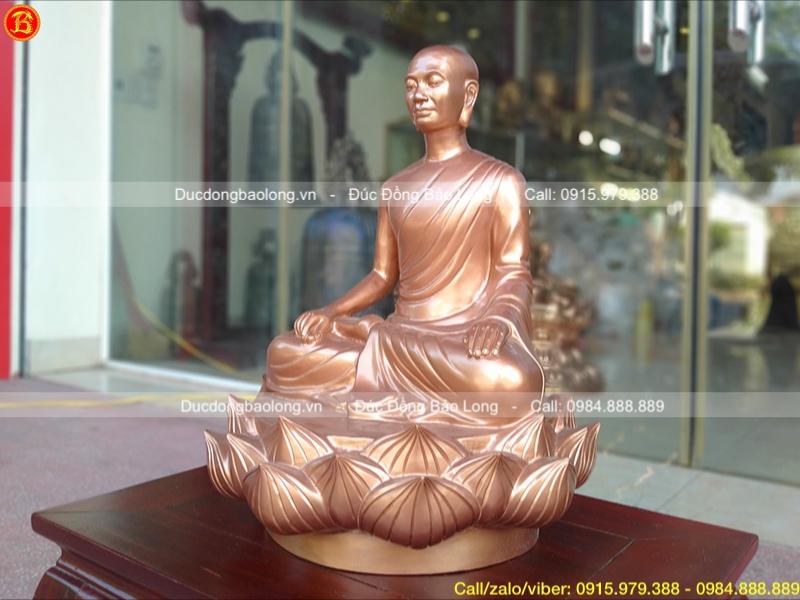 Tượng Phật Hoàng ngồi đài sen bằng đồng đỏ 42cm