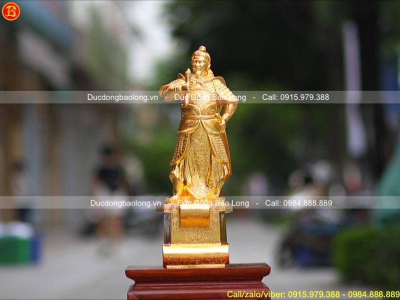 Tượng Trần Hưng Đạo bệ thuyền dát vàng 9999 42cm
