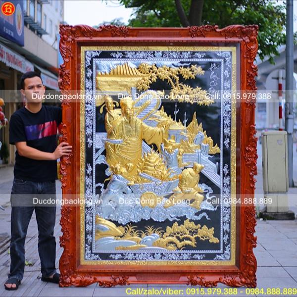 Tranh Phú Quý Cát Tường mạ vàng dát bạc 2m05 x 1m55