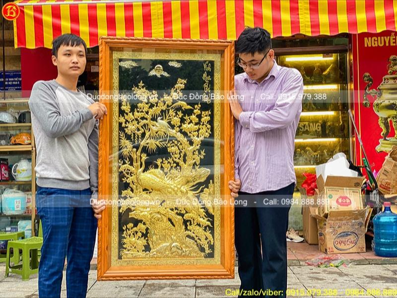 tranh vinh hoa phú quý mạ vàng 24k 1m55 x 88cm