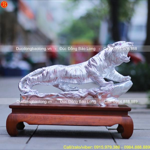 Tượng Hổ Phong Thủy Dát Bạc dài 61cm
