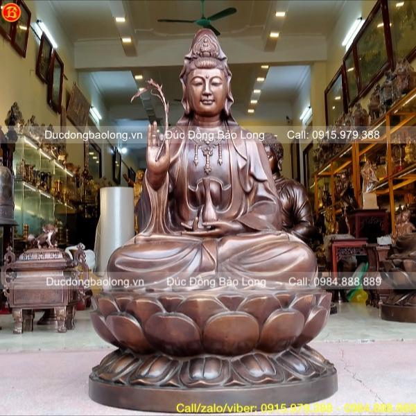 Tượng Phật Bà Quan Âm bằng đồng đỏ cao 89cm