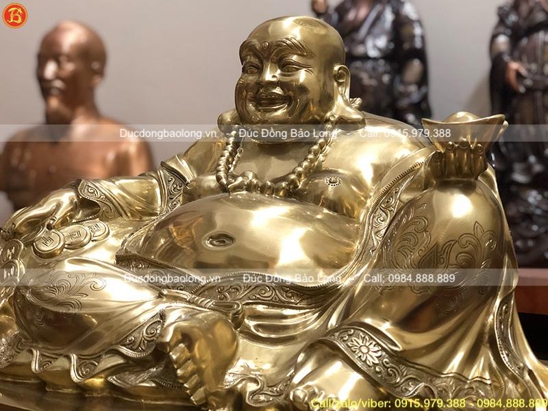Tượng Phật Di Lặc ngồi bệ bằng đồng Catut cao 48cm