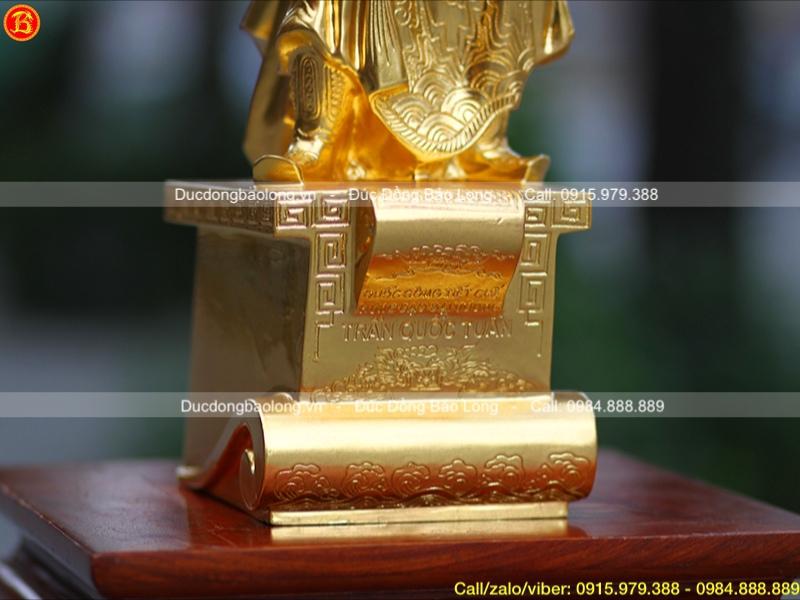 tượng trần hưng đạo dát bệ thuyền dát vàng 9999