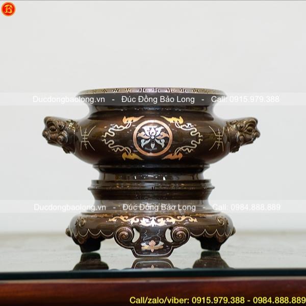Bát hương khảm Hoa sen mẫu cổ 23cm