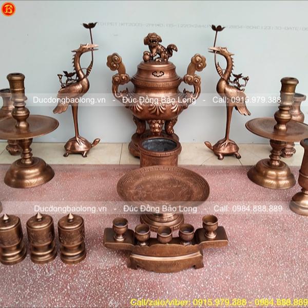 Bộ đồ thờ đầy đủ Hoa sòi 60cm giả cổ cao cấp