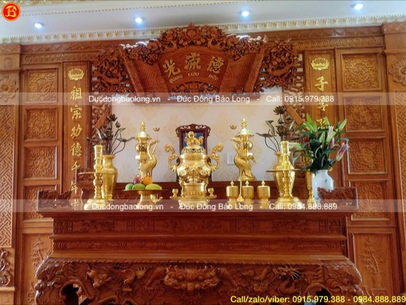 bộ đồ thờ dát vàng 9999 đỉnh rồng nổi