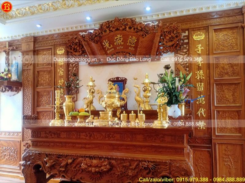 bộ đồ thờ dát vàng đỉnh rồng nổi