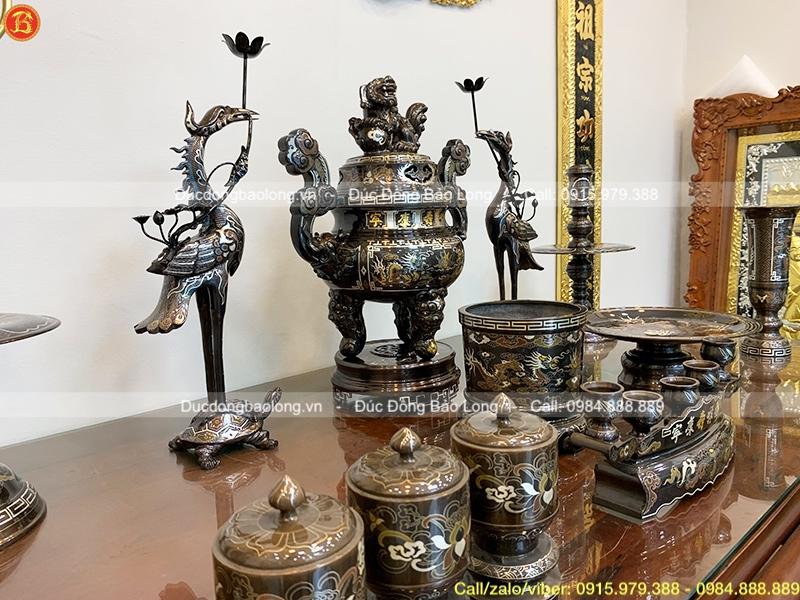 Bộ đồ thờ đầy đủ khảm Ngũ sắc 5 chữ vàng cao 60cm