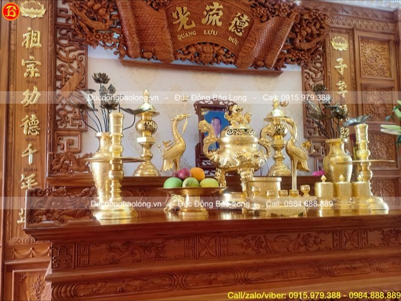 Bộ Đồ thờ dát vàng 9999 đỉnh Rồng nổi cao 70cm