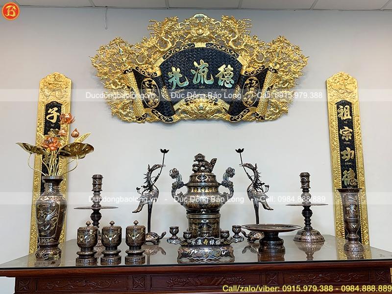 bộ bồ thờ đầy đủ khảm ngũ sắc 5 chữ vàng