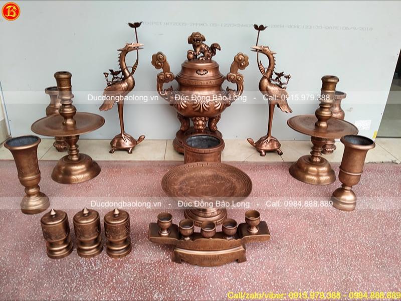 Bộ đồ thờ đầy đủ Hoa sòi 60cm giả cổ