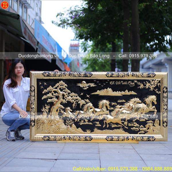 Tranh Bát Mã khung liền đồng Mạ vàng 1m76 x 89cm
