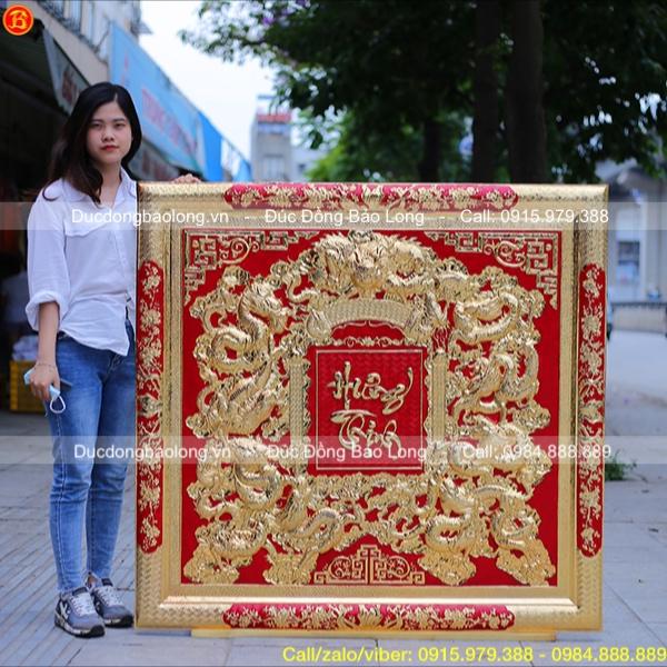 Tranh Cửu Long Hưng Thịnh Mạ vàng 1m33 x 1m27