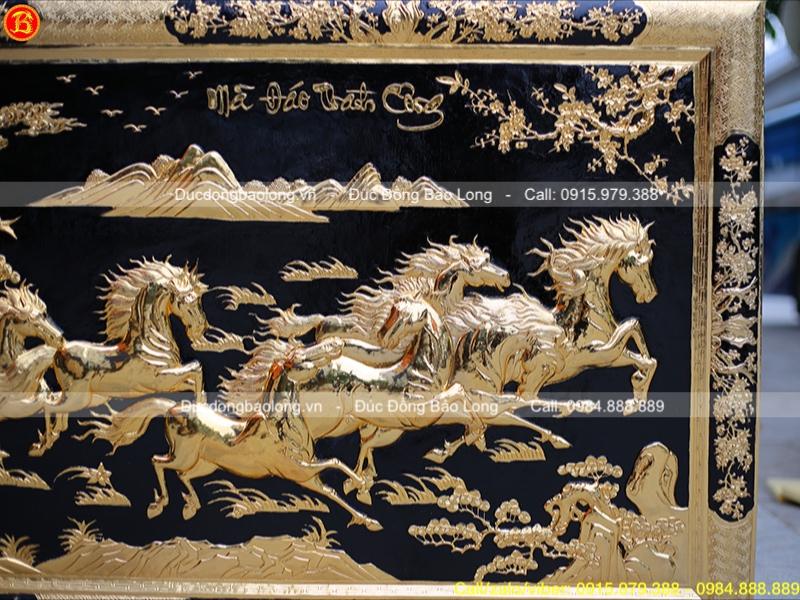tranh bát mã khung liền đồng mạ vàng