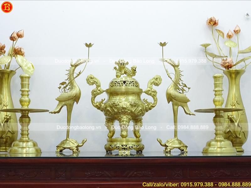 Bộ Ngũ sự Rồng nổi 70cm và Lọ Hoa Nho bằng đồng Catut
