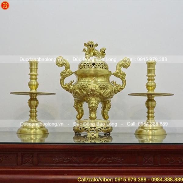 Bộ Tam sự đỉnh nến Rồng nổi cao 70cm bằng đồng Catut