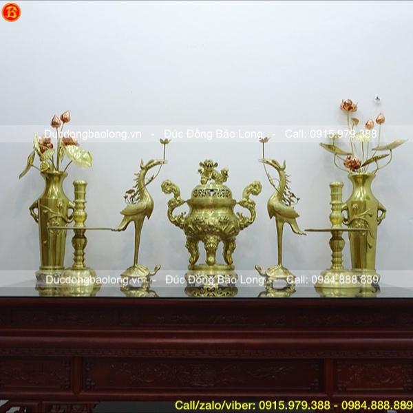 Bộ Ngũ sự 70cm và Đôi Lọ hoa hồng 60cm bằng đồng Catut