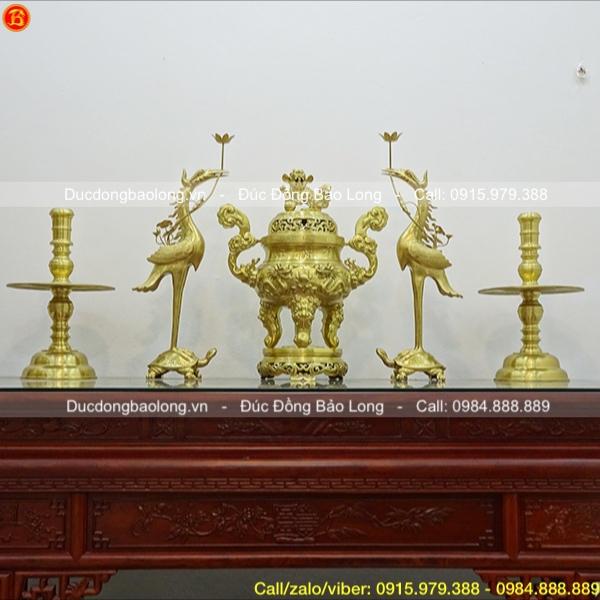 Bộ Ngũ sự đỉnh Rồng chầu cao 70cm bằng đồng Catut