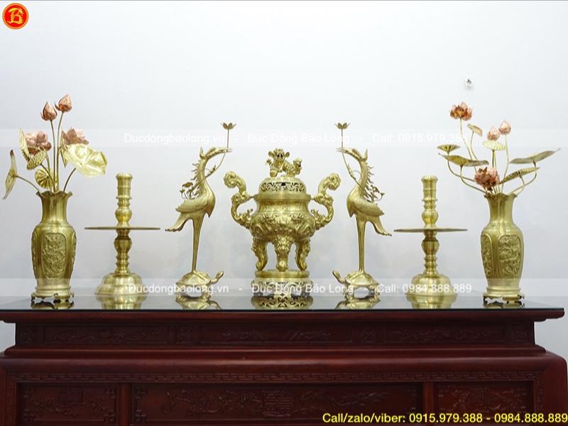 Bộ Ngũ sự 70cm và đôi Lọ hoa hồng 60cm