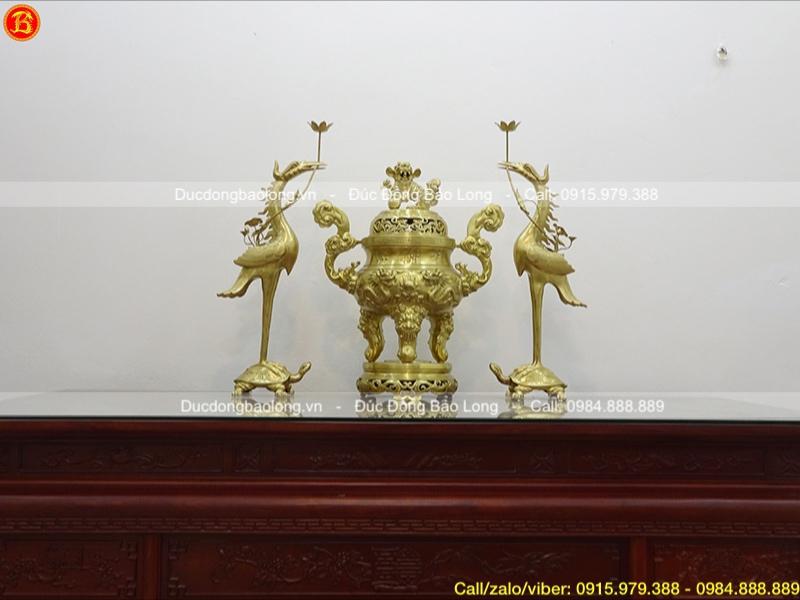 Bộ Tam sự đỉnh Rồng nổi cao 70cm bằng đồng Catut